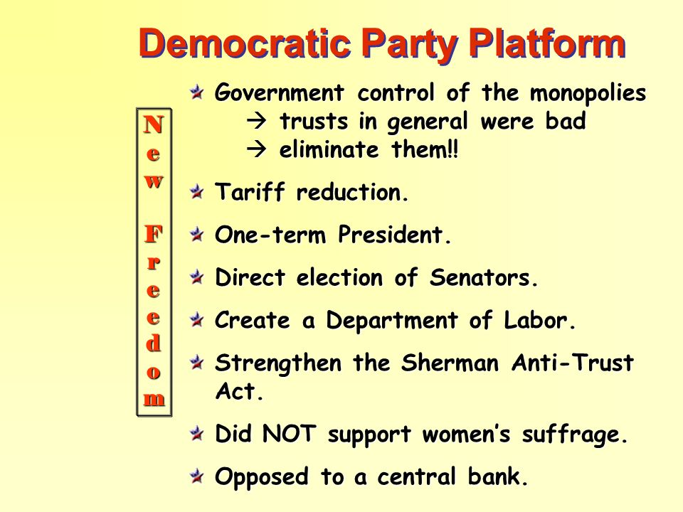 Democratic Party Platform Government control of the monopolies trusts in general were bad eliminate them!! Tariff reduction. One-term President. Direc