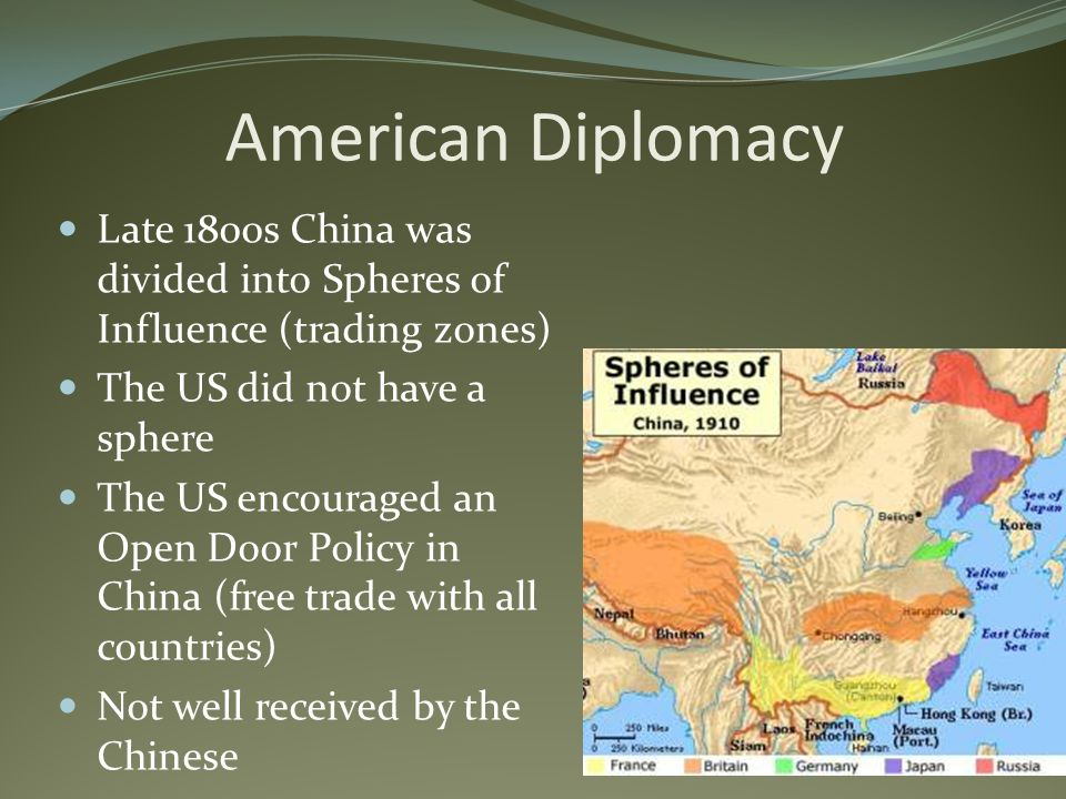 American Diplomacy Late 1800s China was divided into Spheres of Influence (trading zones) The US did not have a sphere The US encouraged an Open Door