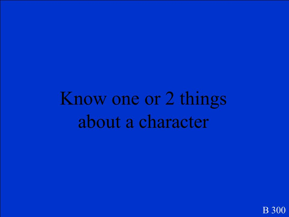 What are MAIN CHARACTERS B 200