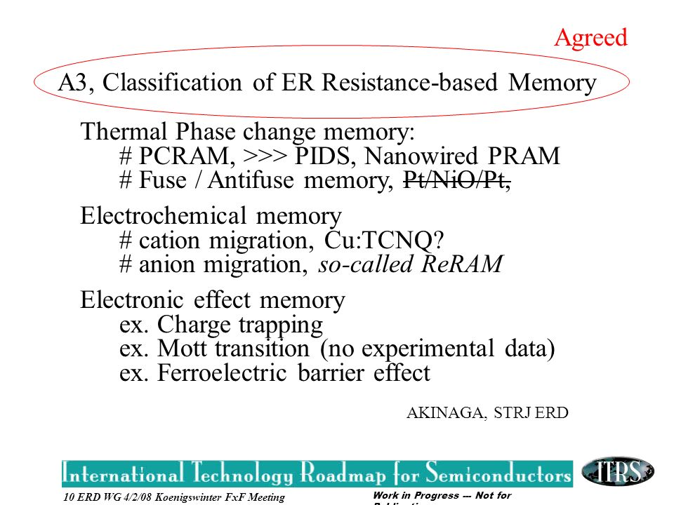 Work in Progress --- Not for Publication 10 ERD WG 4/2/08 Koenigswinter FxF Meeting A3, Classification of ER Resistance-based Memory Thermal Phase change memory: # PCRAM, >>> PIDS, Nanowired PRAM # Fuse / Antifuse memory, Pt/NiO/Pt, Electrochemical memory # cation migration, Cu:TCNQ.