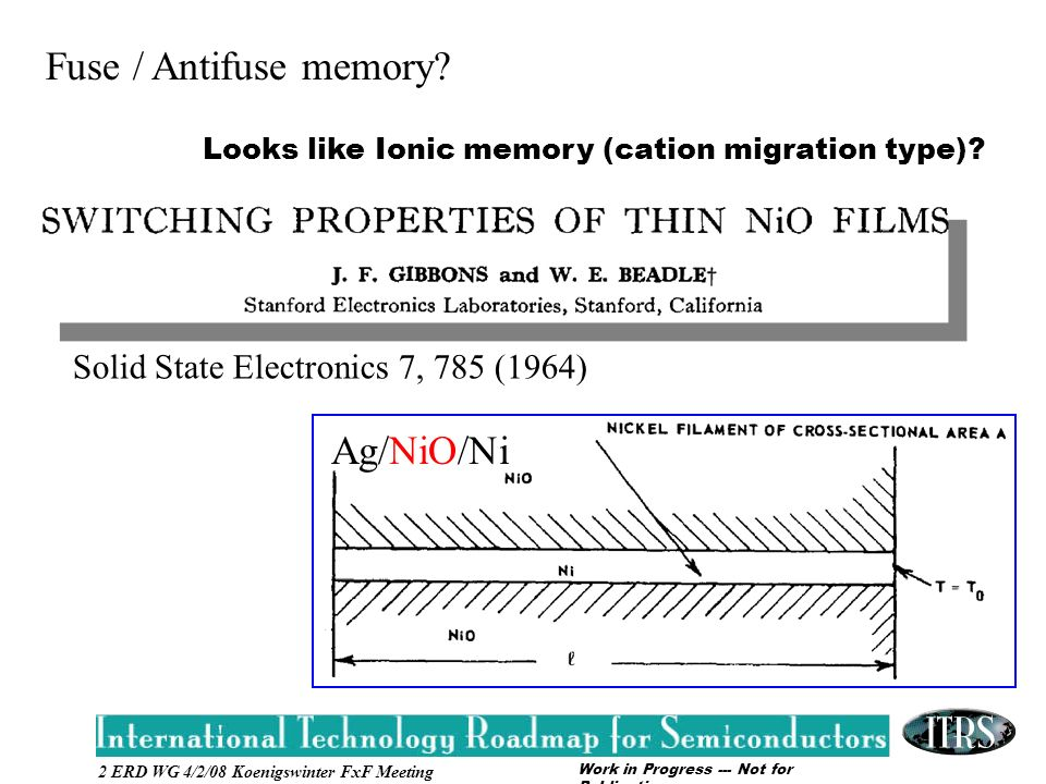 Work in Progress --- Not for Publication 2 ERD WG 4/2/08 Koenigswinter FxF Meeting Fuse / Antifuse memory.