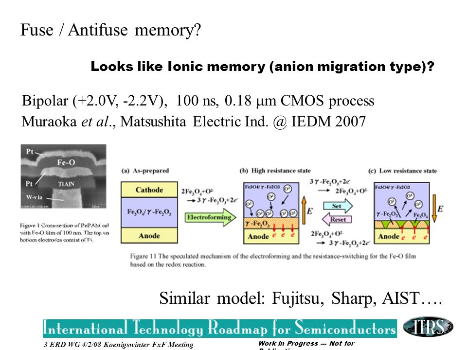 Work in Progress --- Not for Publication 3 ERD WG 4/2/08 Koenigswinter FxF Meeting Fuse / Antifuse memory.