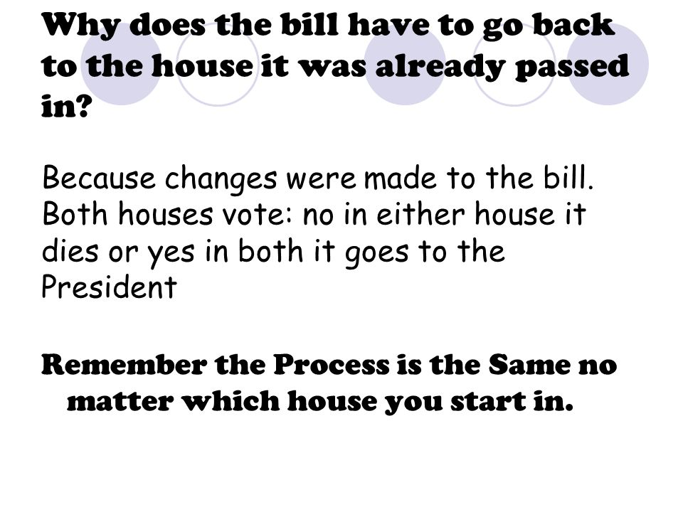 Why does the bill have to go back to the house it was already passed in? Because changes were made to the bill. Both houses vote: no in either house i
