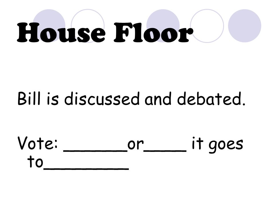 House Floor Bill is discussed and debated. Vote: ______or____ it goes to________