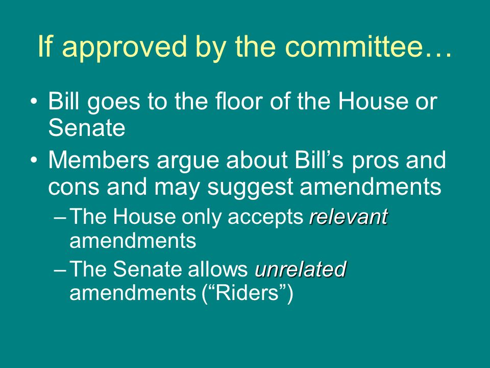 If approved by the committee… Bill goes to the floor of the House or Senate Members argue about Bills pros and cons and may suggest amendments relevan