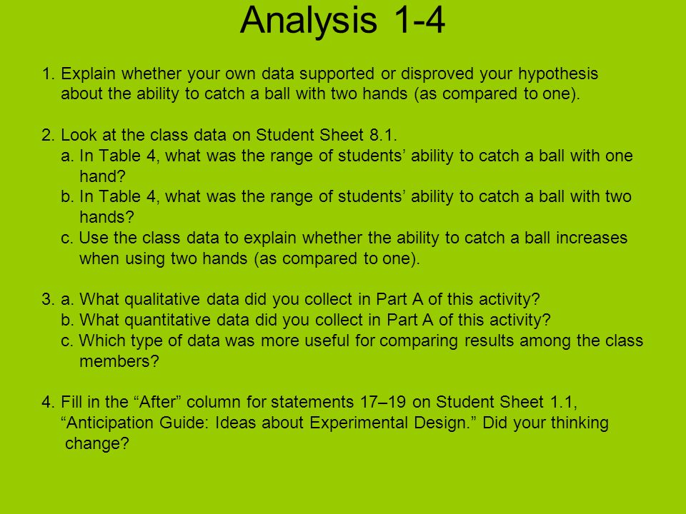 Analysis 1-4 1. Explain whether your own data supported or disproved your hypothesis about the ability to catch a ball with two hands (as compared to