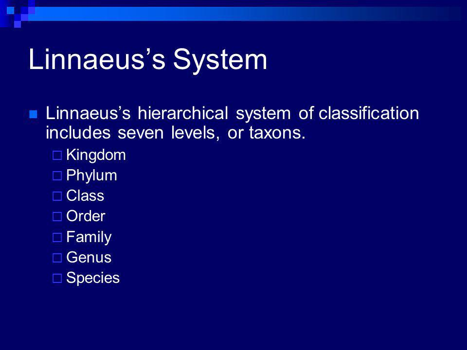 Linnaeuss System Linnaeuss hierarchical system of classification includes seven levels, or taxons. Kingdom Phylum Class Order Family Genus Species