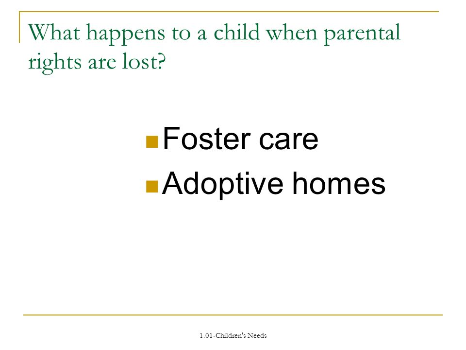 1.01-Children s Needs What happens to a child when parental rights are lost.