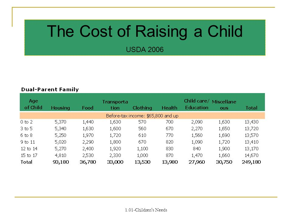 The Cost of Raising a Child USDA 2006