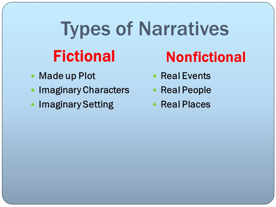 Types of Narratives Fictional Nonfictional Made up Plot Imaginary Characters Imaginary Setting Real Events Real People Real Places