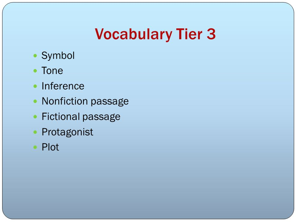 Vocabulary Tier 3 Symbol Tone Inference Nonfiction passage Fictional passage Protagonist Plot