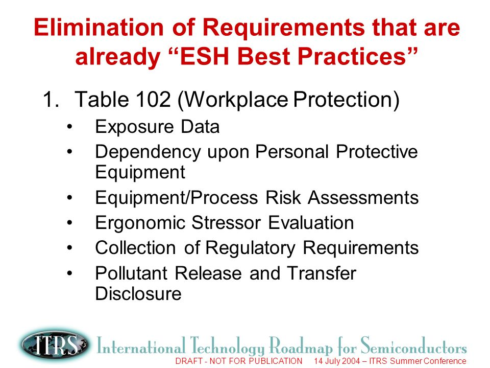 DRAFT - NOT FOR PUBLICATION 14 July 2004 – ITRS Summer Conference Elimination of Requirements that are already ESH Best Practices 1.Table 102 (Workplace Protection) Exposure Data Dependency upon Personal Protective Equipment Equipment/Process Risk Assessments Ergonomic Stressor Evaluation Collection of Regulatory Requirements Pollutant Release and Transfer Disclosure