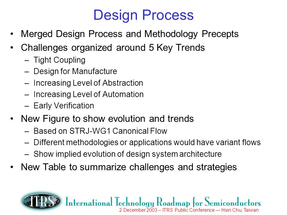 2 December 2003 – ITRS Public Conference Hsin Chu, Taiwan Design Process Merged Design Process and Methodology Precepts Challenges organized around 5