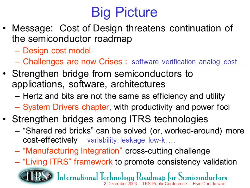 2 December 2003 – ITRS Public Conference Hsin Chu, Taiwan Big Picture Message: Cost of Design threatens continuation of the semiconductor roadmap –Design cost model –Challenges are now Crises : software, verification, analog, cost...