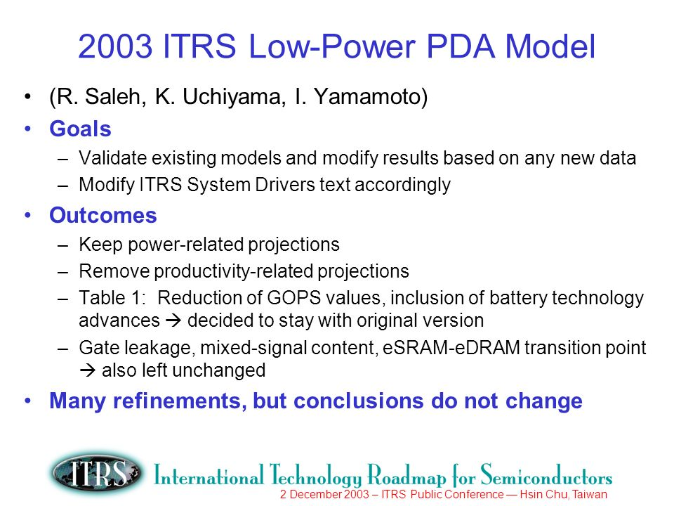 2 December 2003 – ITRS Public Conference Hsin Chu, Taiwan 2003 ITRS Low-Power PDA Model (R.