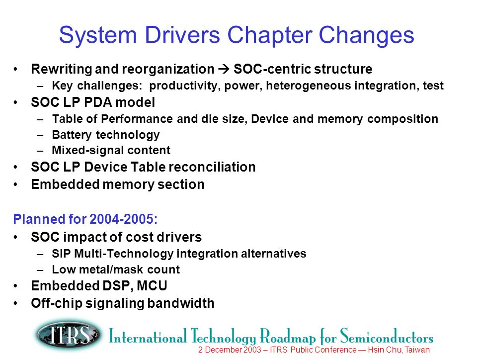 2 December 2003 – ITRS Public Conference Hsin Chu, Taiwan System Drivers Chapter Changes Rewriting and reorganization SOC-centric structure –Key challenges: productivity, power, heterogeneous integration, test SOC LP PDA model –Table of Performance and die size, Device and memory composition –Battery technology –Mixed-signal content SOC LP Device Table reconciliation Embedded memory section Planned for 2004-2005: SOC impact of cost drivers –SIP Multi-Technology integration alternatives –Low metal/mask count Embedded DSP, MCU Off-chip signaling bandwidth