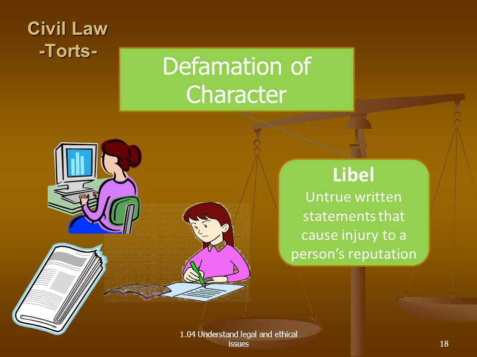 1.04 Understand legal and ethical issues Defamation of Character Libel Untrue written statements that cause injury to a persons reputation Civil Law -