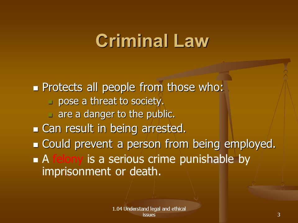 1.04 Understand legal and ethical issues Criminal Law Criminal Law Protects all people from those who: Protects all people from those who: pose a thre