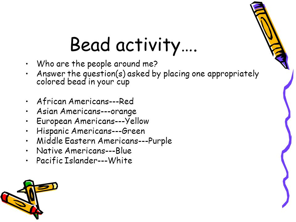 Bead activity…. Who are the people around me.