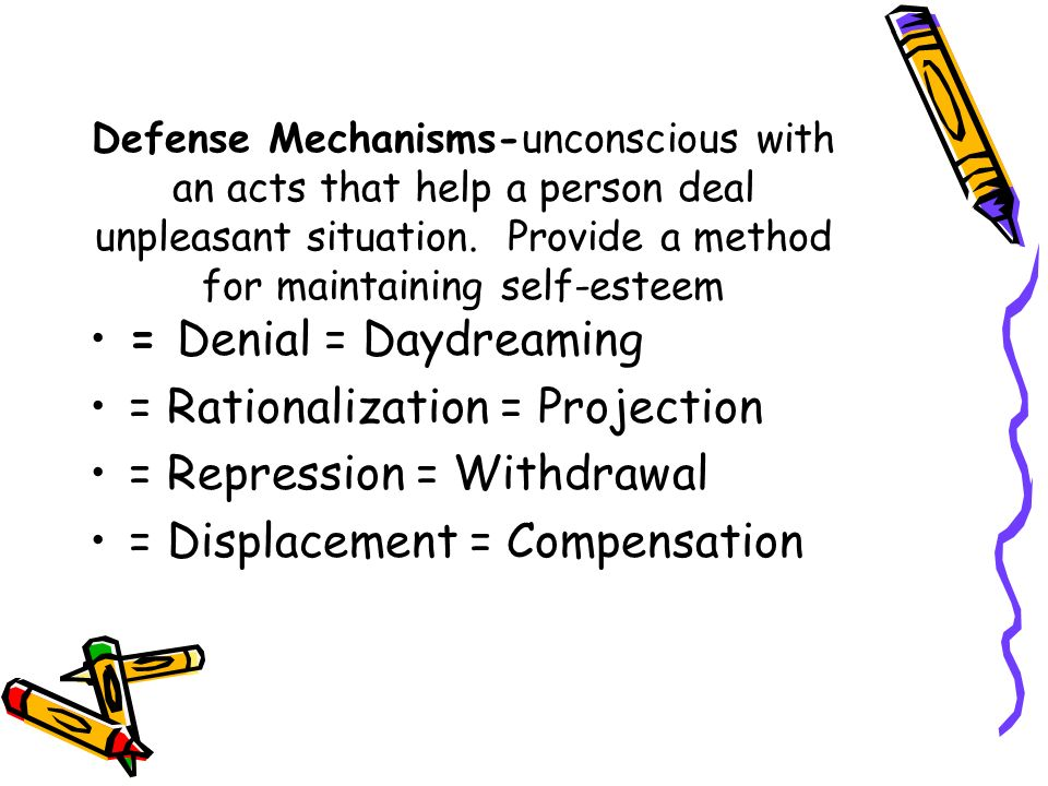Defense Mechanisms-unconscious with an acts that help a person deal unpleasant situation.