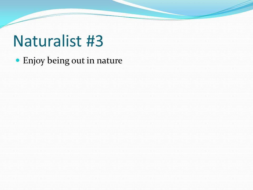 Naturalist #3 Enjoy being out in nature