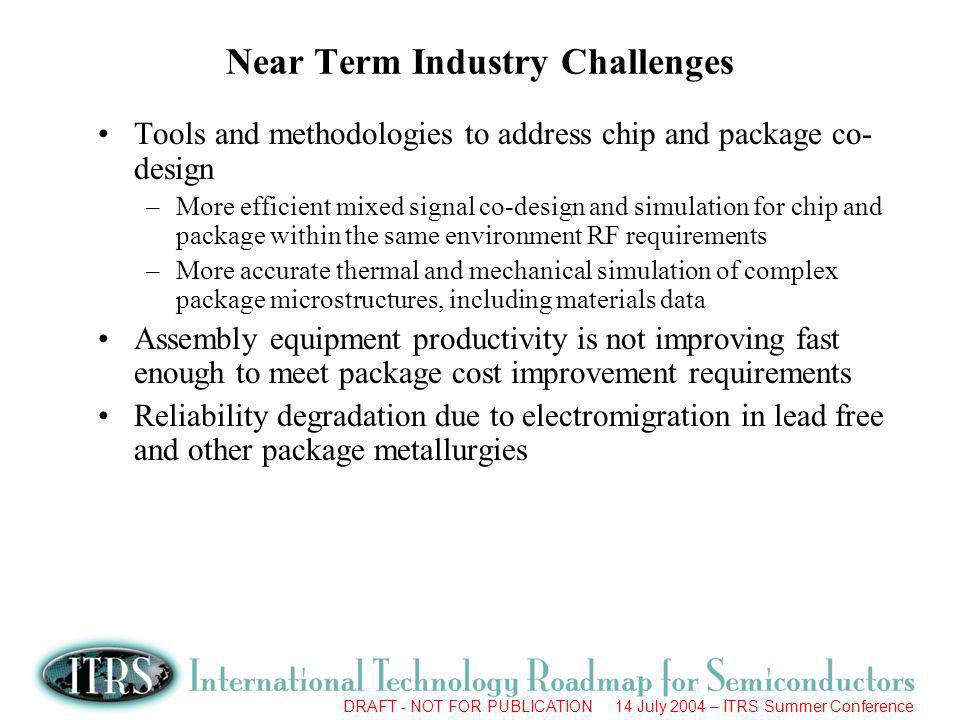 DRAFT - NOT FOR PUBLICATION 14 July 2004 – ITRS Summer Conference Near Term Industry Challenges Tools and methodologies to address chip and package co
