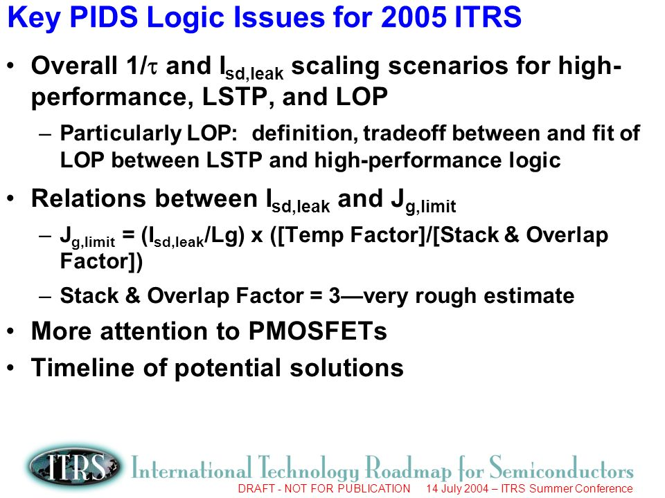 DRAFT - NOT FOR PUBLICATION 14 July 2004 – ITRS Summer Conference Key PIDS Logic Issues for 2005 ITRS Overall 1/ and I sd,leak scaling scenarios for high- performance, LSTP, and LOP –Particularly LOP: definition, tradeoff between and fit of LOP between LSTP and high-performance logic Relations between I sd,leak and J g,limit –J g,limit = (I sd,leak /Lg) x ([Temp Factor]/[Stack & Overlap Factor]) –Stack & Overlap Factor = 3very rough estimate More attention to PMOSFETs Timeline of potential solutions