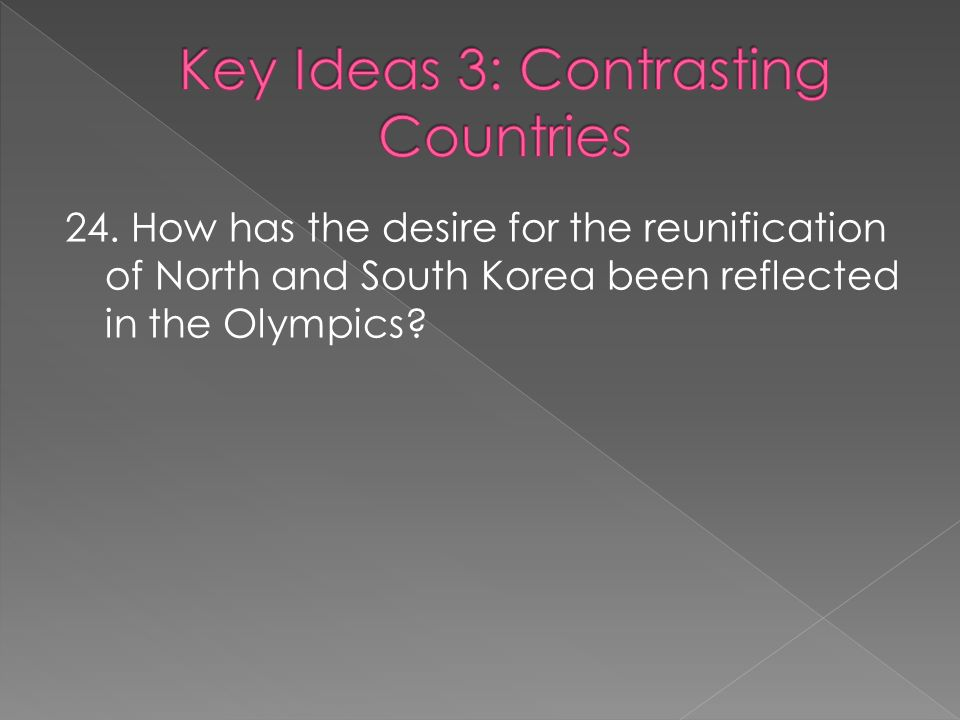 24. How has the desire for the reunification of North and South Korea been reflected in the Olympics?