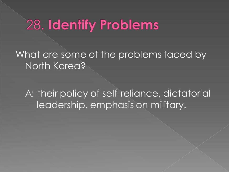 A: their policy of self-reliance, dictatorial leadership, emphasis on military.