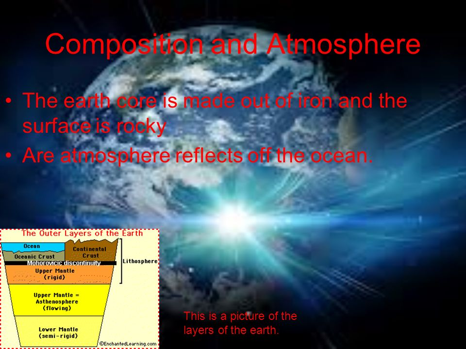 Composition and Atmosphere The earth core is made out of iron and the surface is rocky Are atmosphere reflects off the ocean.