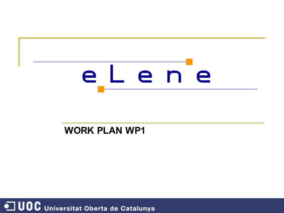 WORK PLAN WP1