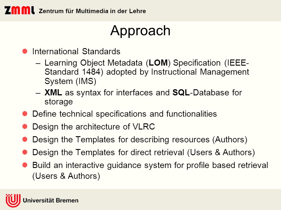 Zentrum für Multimedia in der Lehre Approach International Standards –Learning Object Metadata (LOM) Specification (IEEE- Standard 1484) adopted by Instructional Management System (IMS) –XML as syntax for interfaces and SQL-Database for storage Define technical specifications and functionalities Design the architecture of VLRC Design the Templates for describing resources (Authors) Design the Templates for direct retrieval (Users & Authors) Build an interactive guidance system for profile based retrieval (Users & Authors)