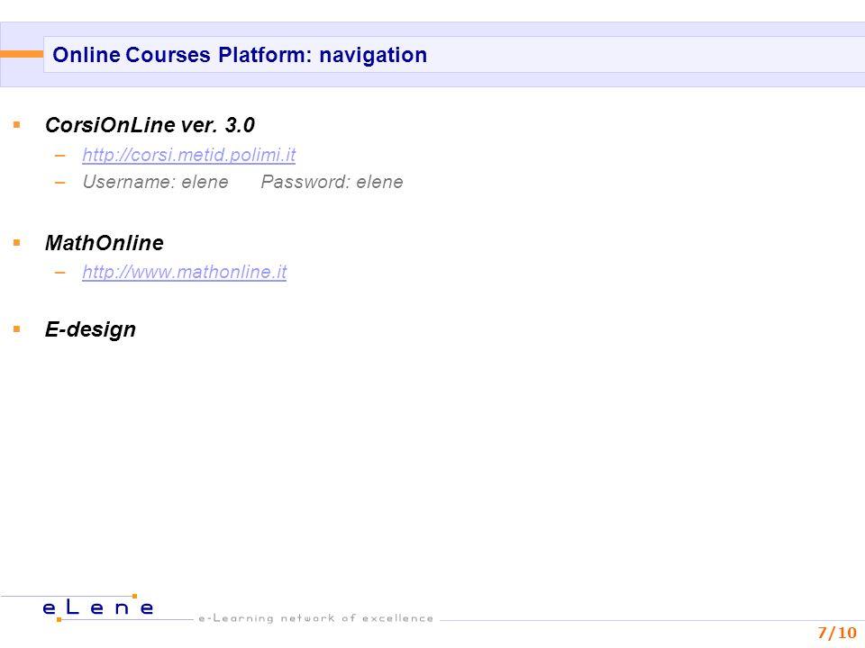 7/10 Online Courses Platform: navigation CorsiOnLine ver.