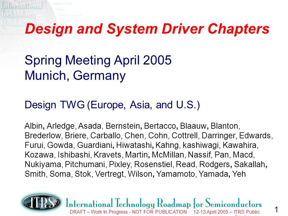 2 DRAFT – Work In Progress - NOT FOR PUBLICATION 12-13 April 2005 – ITRS Public Conference 2005 Spring Deliverables 1.