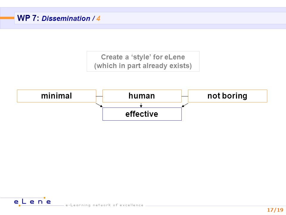 17/19 WP 7: Dissemination / 4 minimalhumannot boring effective Create a style for eLene (which in part already exists)