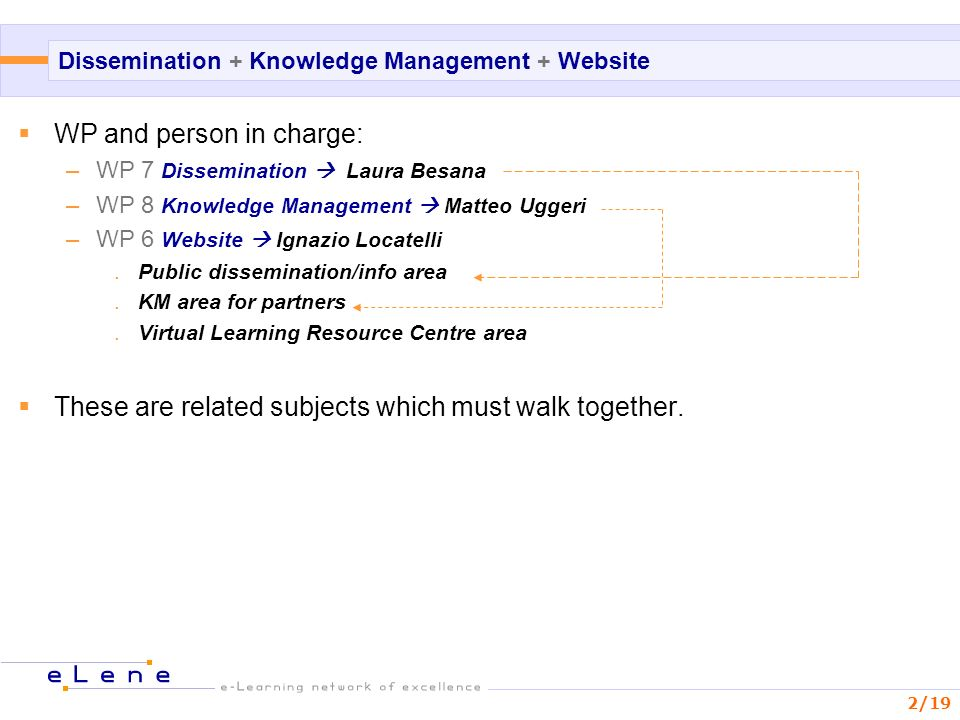 2/19 Dissemination + Knowledge Management + Website WP and person in charge: –WP 7 Dissemination Laura Besana –WP 8 Knowledge Management Matteo Uggeri –WP 6 Website Ignazio Locatelli.Public dissemination/info area.KM area for partners.Virtual Learning Resource Centre area These are related subjects which must walk together.