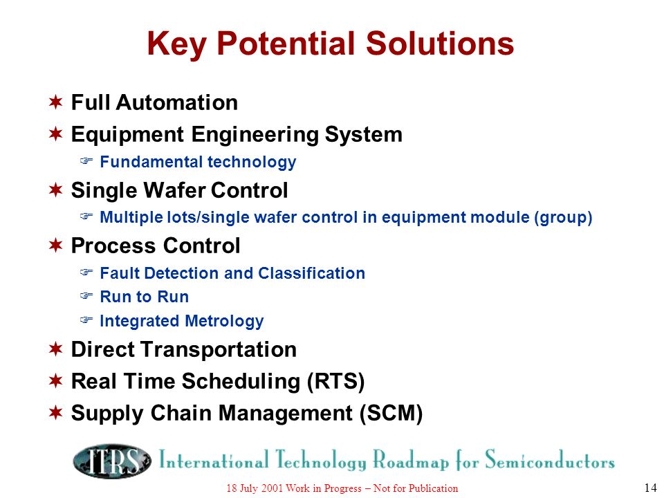 18 July 2001 Work in Progress – Not for Publication 14 Key Potential Solutions Full Automation Equipment Engineering System Fundamental technology Sin