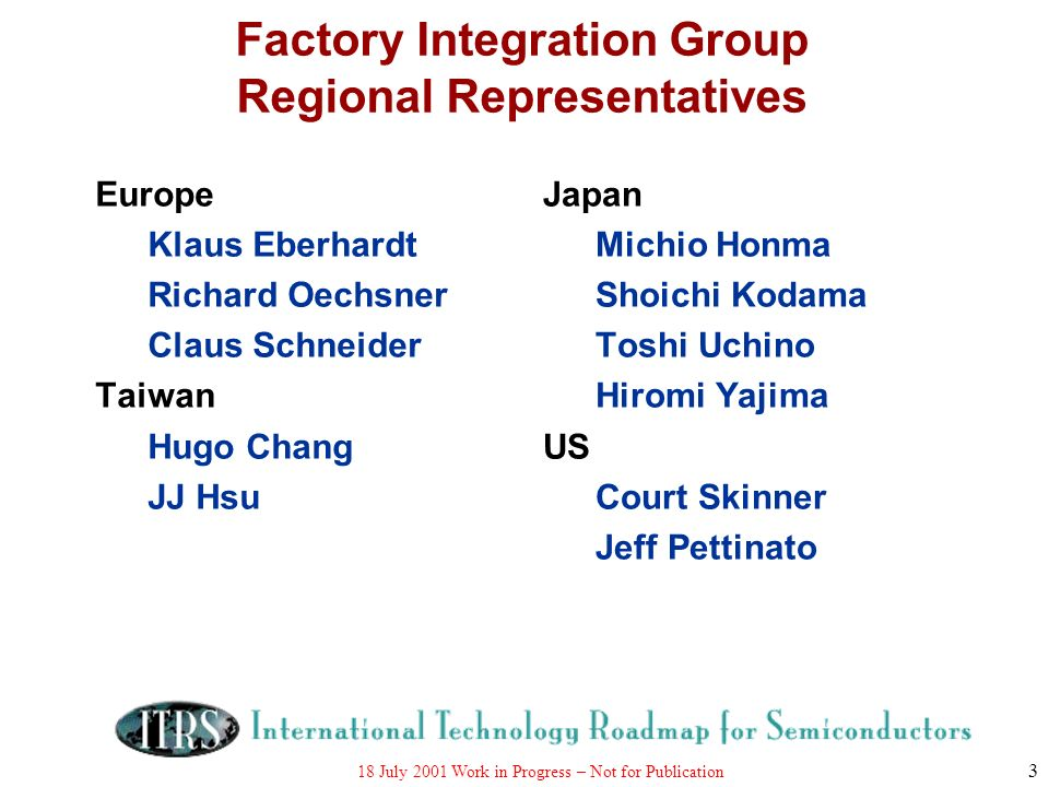 18 July 2001 Work in Progress – Not for Publication 3 Factory Integration Group Regional Representatives Europe Klaus Eberhardt Richard Oechsner Claus