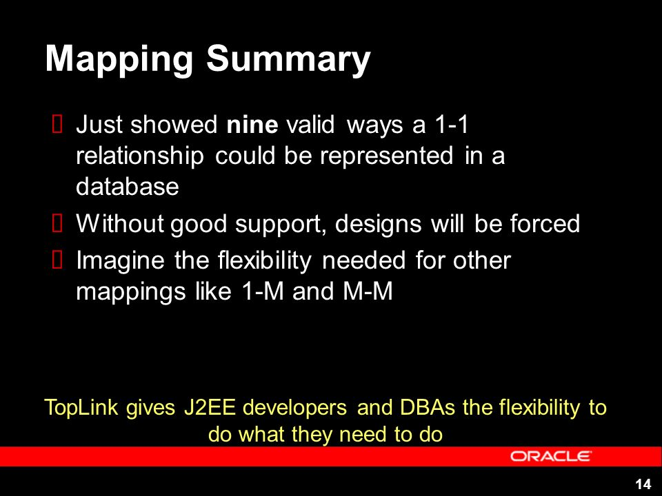 14 Mapping Summary Just showed nine valid ways a 1-1 relationship could be represented in a database Without good support, designs will be forced Imagine the flexibility needed for other mappings like 1-M and M-M TopLink gives J2EE developers and DBAs the flexibility to do what they need to do