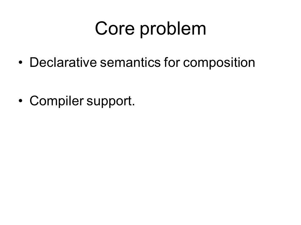 Core problem Declarative semantics for composition Compiler support.