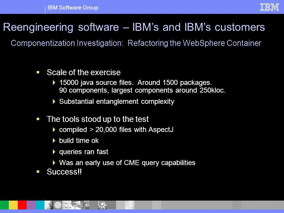 IBM Software Group Scale of the exercise 15000 java source files. Around 1500 packages. 90 components, largest components around 250kloc. Substantial