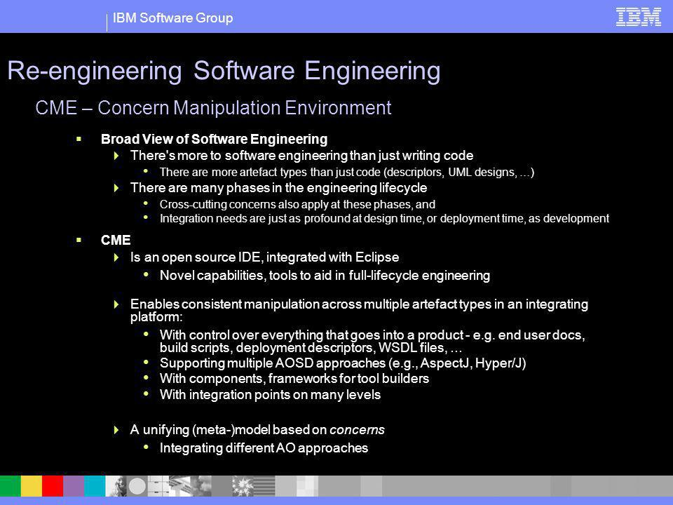 IBM Software Group CME – Concern Manipulation Environment Broad View of Software Engineering There's more to software engineering than just writing co