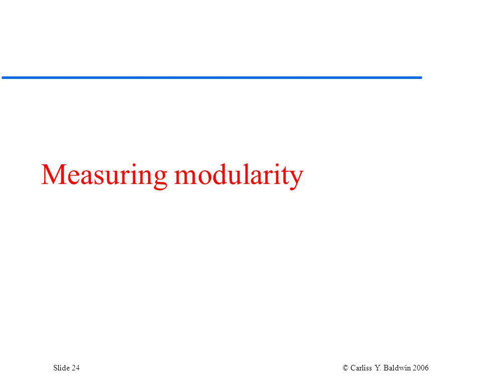 Slide 24 © Carliss Y. Baldwin 2006 Measuring modularity
