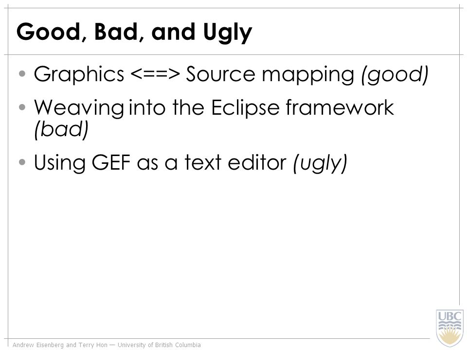 Andrew Eisenberg and Terry Hon University of British Columbia Good, Bad, and Ugly Graphics Source mapping (good) Weaving into the Eclipse framework (b
