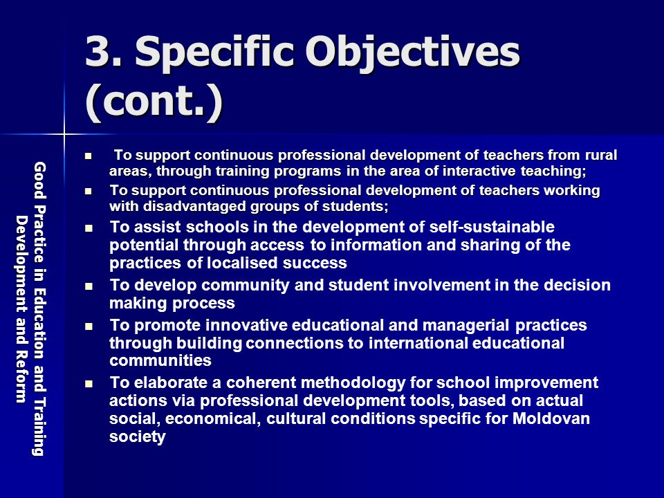 Good Practice in Education and Training Development and Reform 3.
