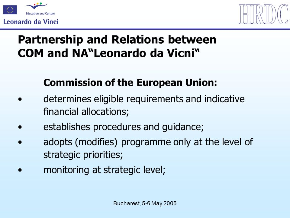 Bucharest, 5-6 May 2005 Commission of the European Union: determines eligible requirements and indicative financial allocations; establishes procedure