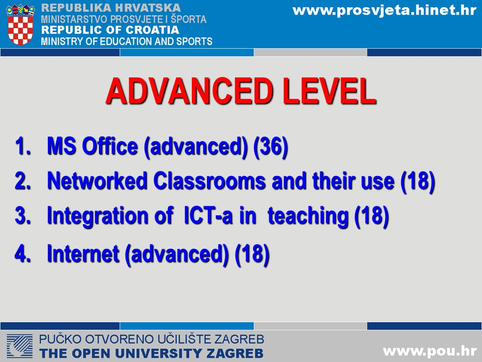 BASIC LEVEL 1.Basic Concepts in Computer Application (6) 2.Operating Systems (12) 3.Text processing (18) 4.Spreadsheets (14) 5.Presentations (8) 6.Internet ( , WWW) (14) 7.ICT in education (4) Optional : English language(18)