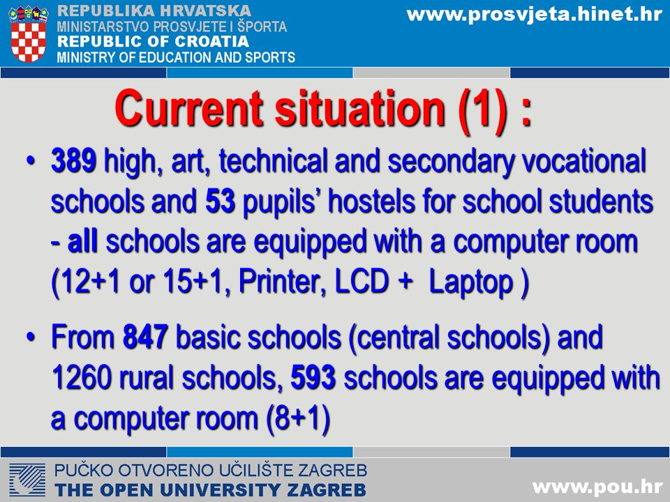 Current situation (1) : 389 high, art, technical and secondary vocational schools and 53 pupils hostels for school students - all schools are equipped with a computer room (12+1 or 15+1, Printer, LCD + Laptop ) 389 high, art, technical and secondary vocational schools and 53 pupils hostels for school students - all schools are equipped with a computer room (12+1 or 15+1, Printer, LCD + Laptop ) From 847 basic schools (central schools) and 1260 rural schools, 593 schools are equipped with a computer room (8+1)From 847 basic schools (central schools) and 1260 rural schools, 593 schools are equipped with a computer room (8+1)