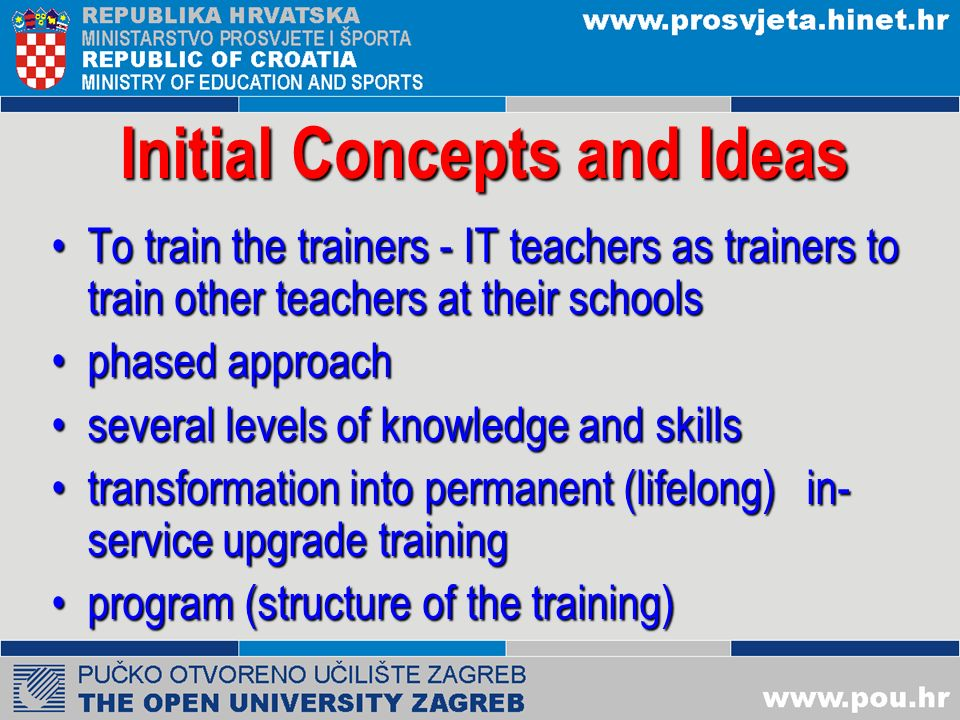 Open Questions Program content and the future development (changes and adjustments) Implementation methods (f2f, DL, hybrid) Manuals and textbooks Evaluation and certification Catalogue of required knowledge and skills Motivation of teachers and how to increase it.