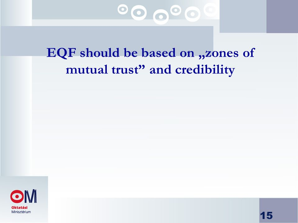15 EQF should be based on zones of mutual trust and credibility